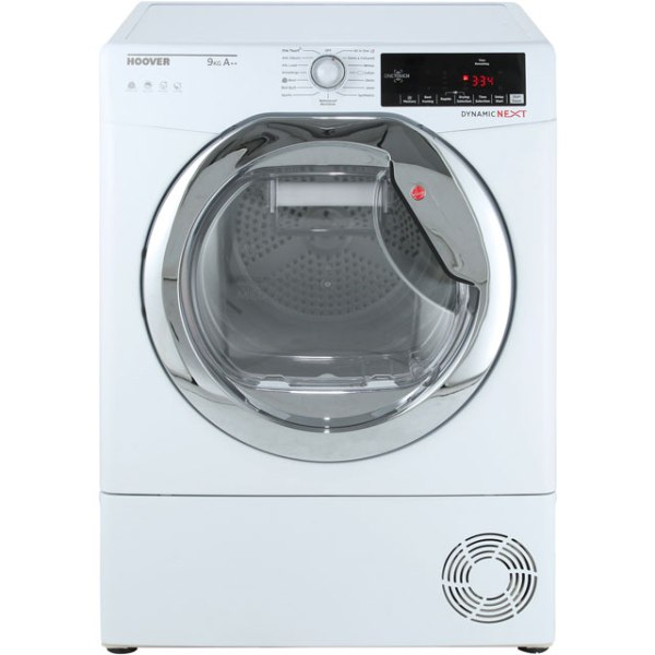Hoover Dynamic Next Advance DXH9A2TCE Free Standing Heat Pump Tumble Dryer in White / Chrome