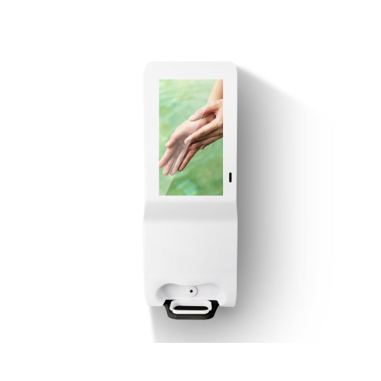 Hygiene Tech Digital signage screen with hand sanitiser - built in Android