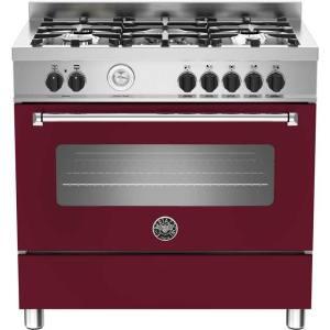 Bertazzoni Master Series MAS90-5-MFE-S-VIE 90cm Dual Fuel Range Cooker - Burgundy - A Rated