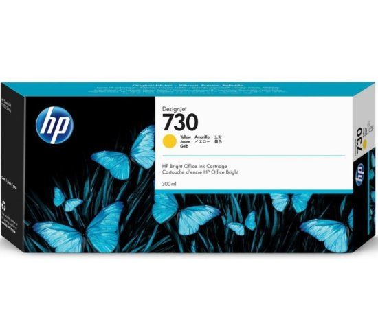 HP 730 Yellow Original Designjet Ink Cartridge - High Yield 300ml - P2
