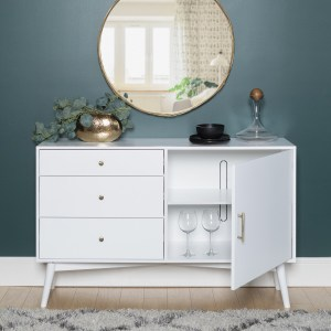 White Solid Wood Sideboard with Storage - Foster