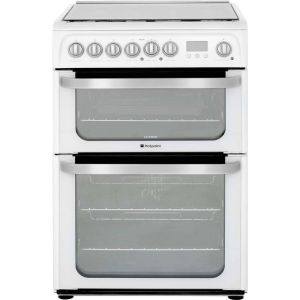Hotpoint Ultima HUD61PS 60cm Dual Fuel Cooker - White - A/A Rated - Needs 4.8KW Electrical Connection