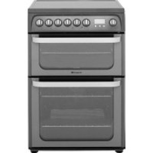 Hotpoint Ultima HUE61GS Electric Cooker with Ceramic Hob - Graphite - A/A Rated AO SALE