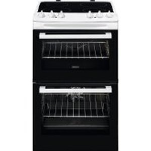 Zanussi ZCV46050WA 55cm Electric Cooker with Ceramic Hob - White - A/A Rated   AO SALE