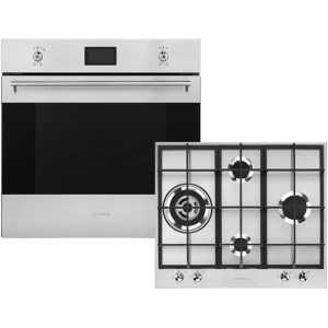 Smeg Classic AOSF6390G2 Built In Electric Single Oven and Gas Hob Pack - Stainless Steel - A+ Rated AO SALE
