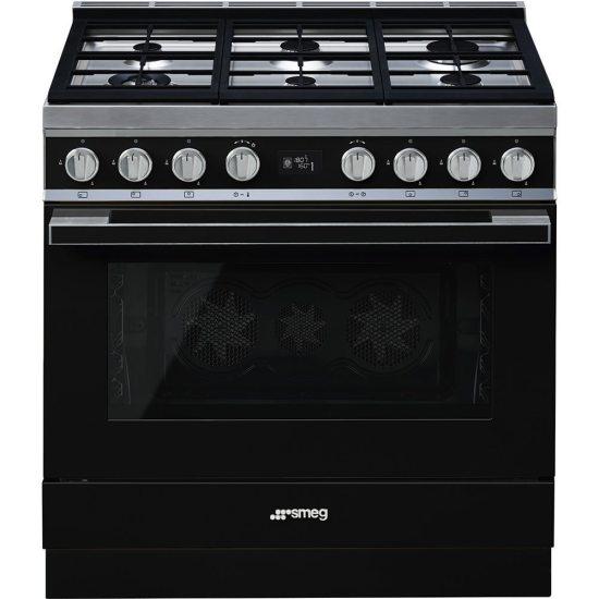 Smeg CPF9GPBL 90cm Portofino Pyrolytic Dual Fuel Range Cooker - BLACK
