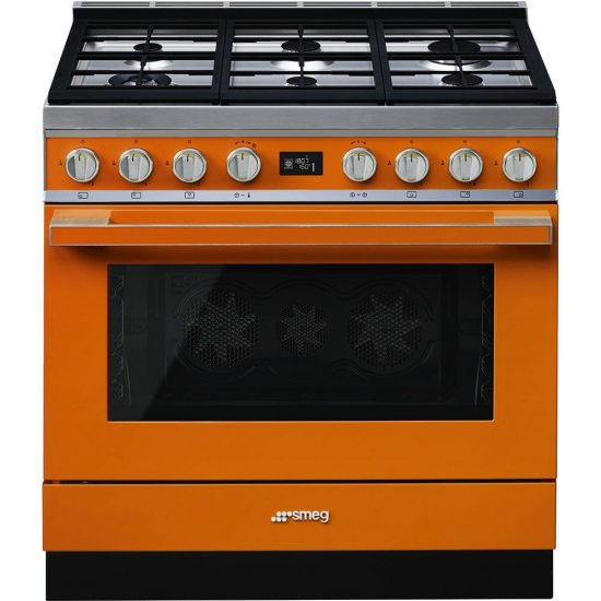Smeg CPF9GPOR 90cm Portofino Pyrolytic Dual Fuel Range Cooker - ORANGE