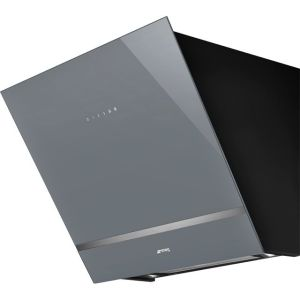Smeg KV26S 60 cm Angled Chimney Cooker Hood - Silver Glass - A Rated