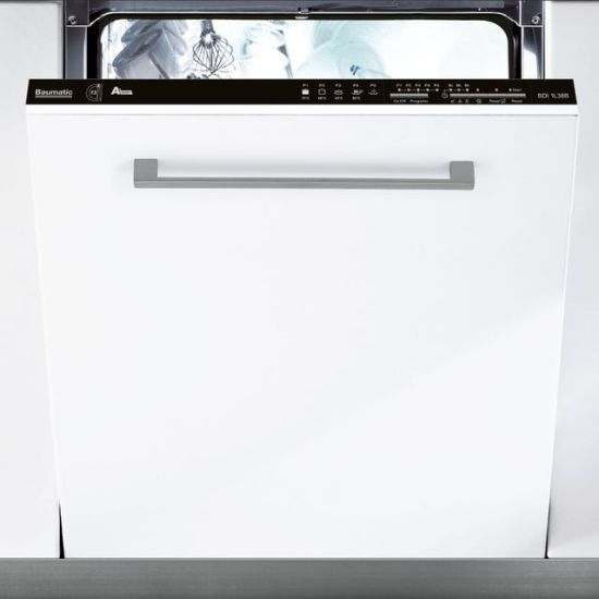 Baumatic BDIN1L38B-80 Fully Integrated Standard Dishwasher - Black Control Panel with Fixed Door Fixing Kit - A+ Rated AO.com Baumatic BDIN1L38B-80 Integrated Dishwasher in Black