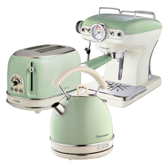Ariete ARPK17 Vintage 2-Slice Toaster, 1.7L Dome Kettle, and Espresso Coffee Maker - Green