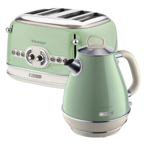 Ariete ARPK20 Vintage 4-Slice Toaster and 1.7L Fast Boil Jug Kettle - Green