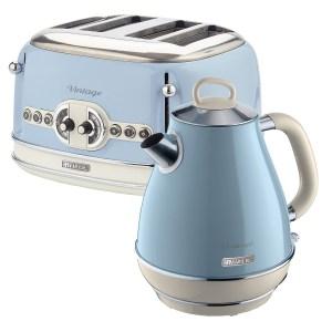 Ariete ARPK21 Vintage 4-Slice Toaster and 1.7L Jug Kettle - Blue
