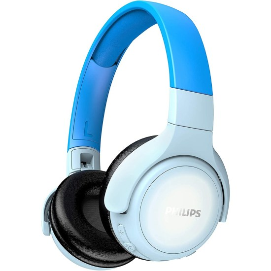 Philips Kids Headphones with Noise Isolating Ear Cushions & LED Colours - Blue