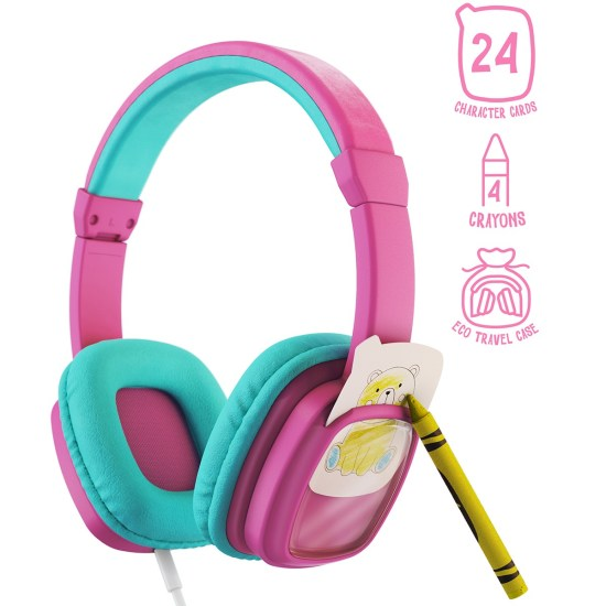 Planet Buddies Colour & Swap Wired Kids Headphones - Pink