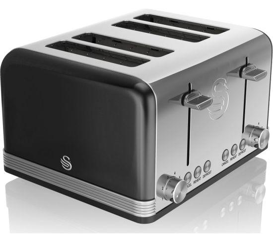 SWAN Retro ST19020BN 4-Slice Toaster - Black, Black