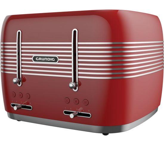GRUNDIG TA7870R 4-Slice Toaster - Red, Red