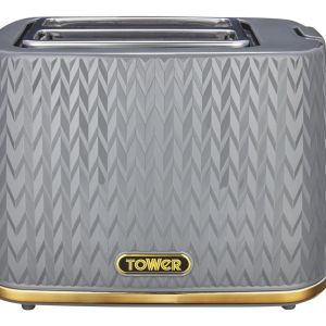 TOWER Empire Collection T20054GRY 2-Slice Toaster – Grey, Grey