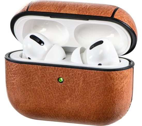 HAMA 122069 AirPods Pro Faux Leather Case - Brown, Brown