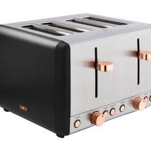 TOWER Cavaletto T20051RG 4-Slice Toaster - Black & Rose Gold, Black