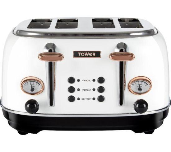 TOWER Bottega T20017W 4-Slice Toaster - White, White