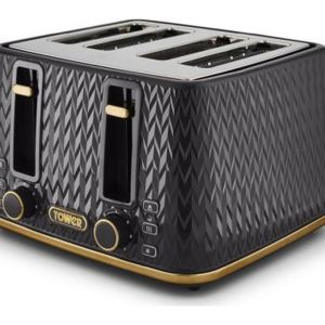 TOWER Empire Collection T20061BLK 4-slice Toaster - Black, Black
