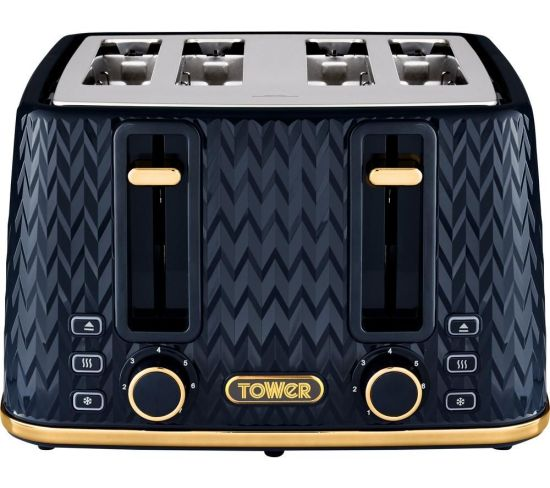 TOWER Empire Collection T20061MNB 4-slice Toaster - Blue, Blue