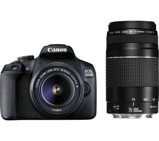 """CANON EOS 2000D DSLR Camera with EF-S 18-55 mm f/3.5-5.6 III & EF 75-300 mm f/4-5.6 III Lens Currys Cameras CANON EOS 2000D DSLR Camera with EF-S 18-55 mm f/3.5-5.6 III & EF 75-300 mm f/4-5.6 III Lens Shop The Very Best Deals Online at <a href=""""http://Appliance-Deals.com"""">Appliance-Deals.com</a> <a href=""""https://www.awin1.com/cread.php?awinmid=19526&awinaffid=792795&ued=https%3A%2F%2Fao.com""""><img class="""" wp-image-9780000159235 aligncenter"""" src=""""https://appliance-deals.com/wp-content/uploads/2021/02/ao-new.jpg"""" alt=""""Appliance Deals"""" width=""""112"""" height=""""112"""" /></a> <a href=""""https://www.awin1.com/cread.php?awinmid=19526&awinaffid=792795&ued=https%3A%2F%2Fao.com""""><img class="""" wp-image-9780000159235 aligncenter"""" src=""""https://appliance-deals.com/wp-content/uploads/2021/03/curryspcworld_500x500_thumb.png"""" alt=""""Appliance Deals"""" width=""""112"""" height=""""112"""" /></a>"""