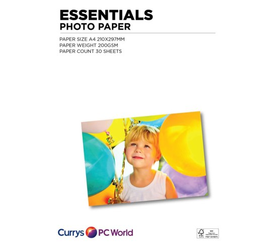 """ESSENTIALS A4 Photo Paper - 30 Sheets Appliance Deals ESSENTIALS A4 Photo Paper - 30 Sheets Shop & Save Today With The Best Appliance Deals Online at <a href=""""http://Appliance-Deals.com"""">Appliance-Deals.com</a>"""