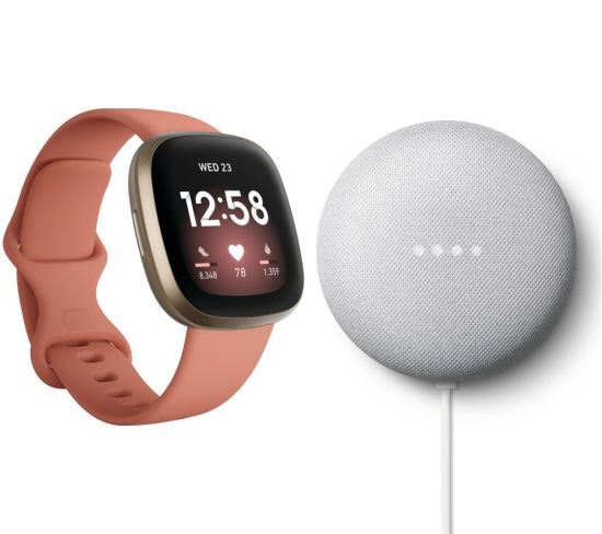 """FITBIT Versa 3 & Nest Mini (2nd Gen) Bundle - Pink Clay & Soft Gold & Chalk, Pink FITBIT Versa 3 & Nest Mini (2nd Gen) Bundle - Pink Clay & Soft Gold & Chalk, Pink Shop The Very Best FitBit Sale Deals Online at <a href=""""http://Appliance-Deals.com"""">Appliance-Deals.com</a> <a href=""""https://www.awin1.com/cread.php?awinmid=1599&awinaffid=792795&ued=https%3A%2F%2Fcurrys.co.uk""""><img class="""" wp-image-9780000159235 aligncenter"""" src=""""https://appliance-deals.com/wp-content/uploads/2021/03/curryspcworld_500x500_thumb.png"""" alt=""""fitbit Appliance Deals"""" width=""""112"""" height=""""112"""" /></a>"""