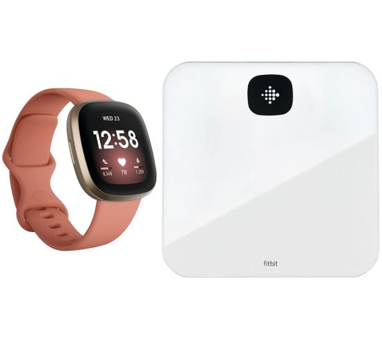 """FITBIT Versa 3 & Aria Air Smart Scale Bundle - Pink Clay & Soft Gold, Pink FITBIT Versa 3 & Aria Air Smart Scale Bundle - Pink Clay & Soft Gold, Pink Shop The Very Best FitBit Sale Deals Online at <a href=""""http://Appliance-Deals.com"""">Appliance-Deals.com</a> <a href=""""https://www.awin1.com/cread.php?awinmid=1599&awinaffid=792795&ued=https%3A%2F%2Fcurrys.co.uk""""><img class="""" wp-image-9780000159235 aligncenter"""" src=""""https://appliance-deals.com/wp-content/uploads/2021/03/curryspcworld_500x500_thumb.png"""" alt=""""fitbit Appliance Deals"""" width=""""112"""" height=""""112"""" /></a>"""