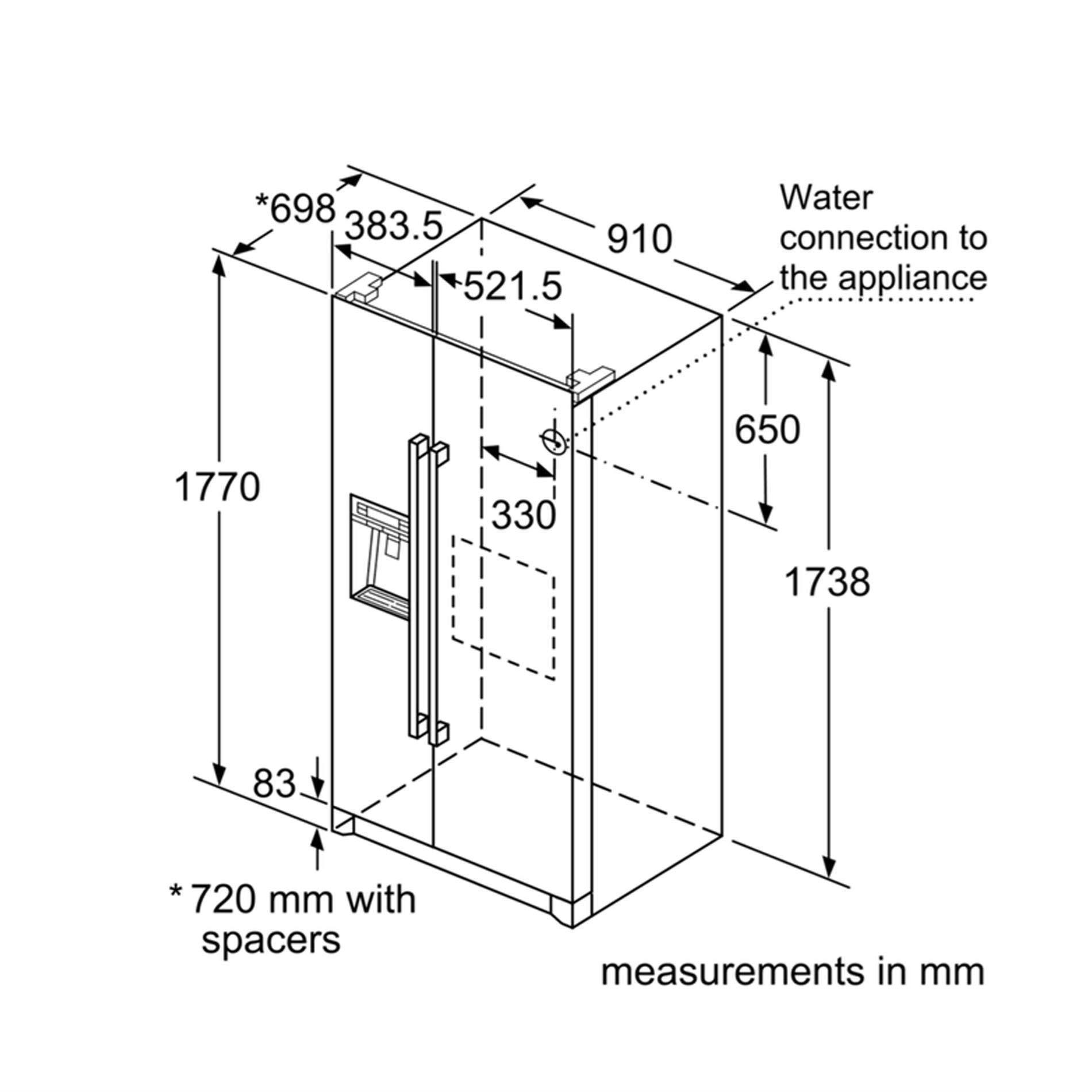 Bosch: KAG90AI20G American Style Fridge Freezer