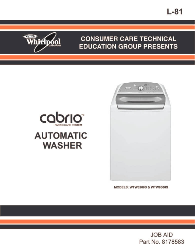 hight resolution of whirlpool cabrio washer service manual