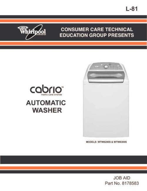 small resolution of whirlpool cabrio washer service manual