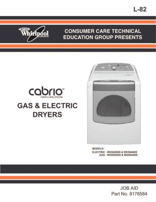 small resolution of whirlpool cabrio dryer service manual
