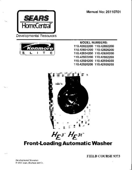 small resolution of sears kenmore front loading he washer service manual
