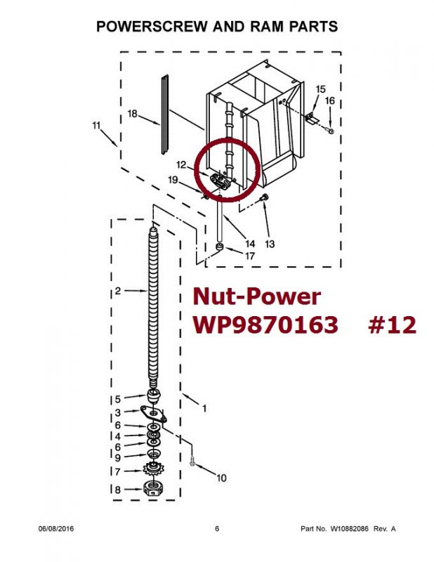 9870163 Trash Compactor Power Nut WP9870163