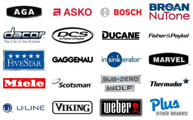 Brand logos for appliance repair: AGA, ASKO, BOSCH, BROAN NUTONE, DACOR, DCS, DUCANE, FISHER & PAYKEL, FIVESTART, GAGGENAU, INSINKERATOR, MARVEL, MIELE, SCOTSMAN, SUBZERO, THERMADOR, U-LINE, VIKING, WEBER