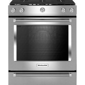 KitchenAid 30-Inch 5-Burner Gas Slide-In Convection Range - KSGG700ESS