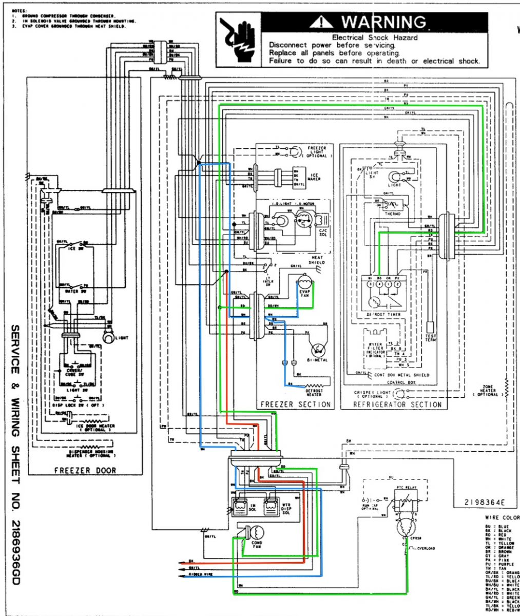 Whirlpool ED25RFXFW01 Refrigerator Wiring Diagram The