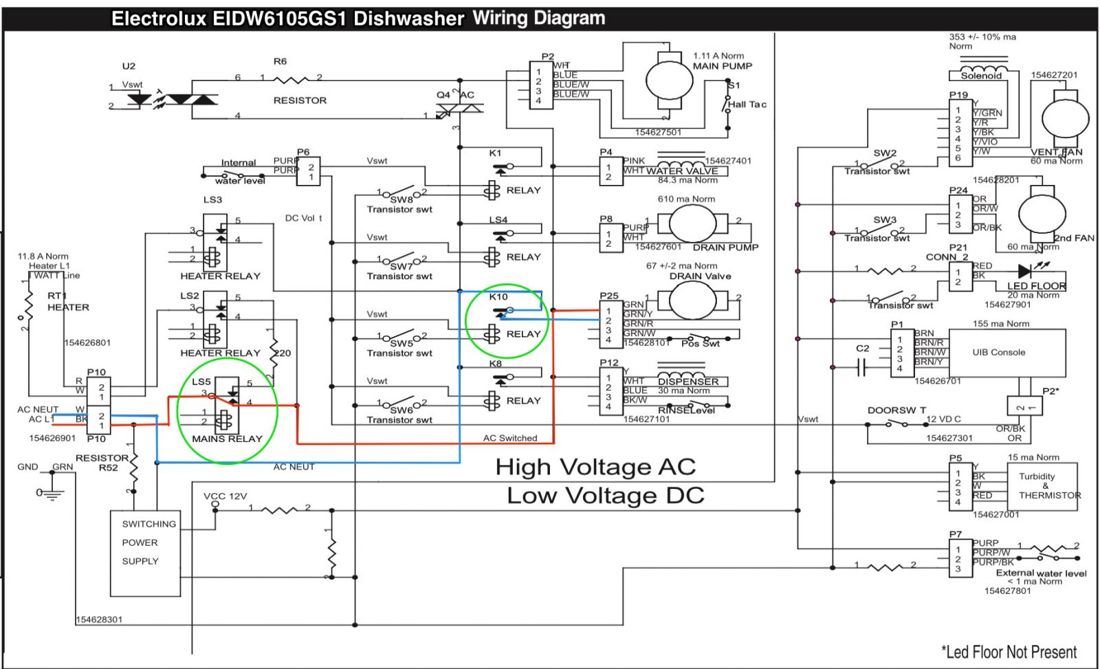 Electrolux EIDW6105GS1 Dishwasher Wiring Diagram The