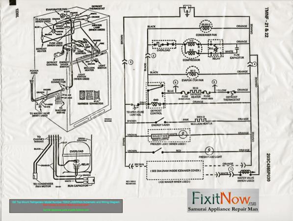 wiring diagram for ge refrigerator 24 volt trailer plug top mount model number tbx21jabrraa schematic and