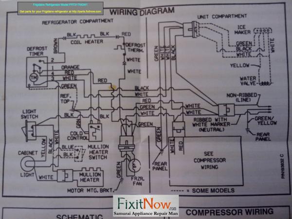 Frigidaire Refrigerator Model FRT21T Wiring Diagram Fixitnow Com