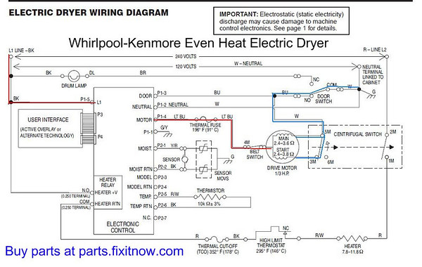 """whirlpoolkenmore """"even heat"""" dryer lights come on but the"""