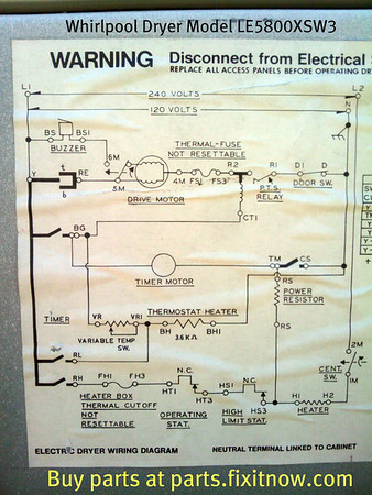 whirlpool dryer wiring diagram clipsal rcd mcb model le5800xsw3 fixitnow com