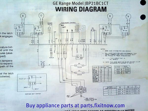 GE Range Model JBP21BC1CT Wiring Diagram Fixitnow Com Samurai