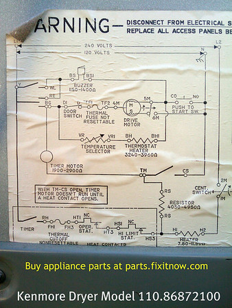 In need of wiring schematic for Kenmore dryer | Shop Your