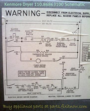 Kenmore Dryer Wiring Diagrams : kenmore, dryer, wiring, diagrams, Kenmore, Dryer, 110.86863100, Schematic, Fixitnow.com, Samurai, Appliance, Repair