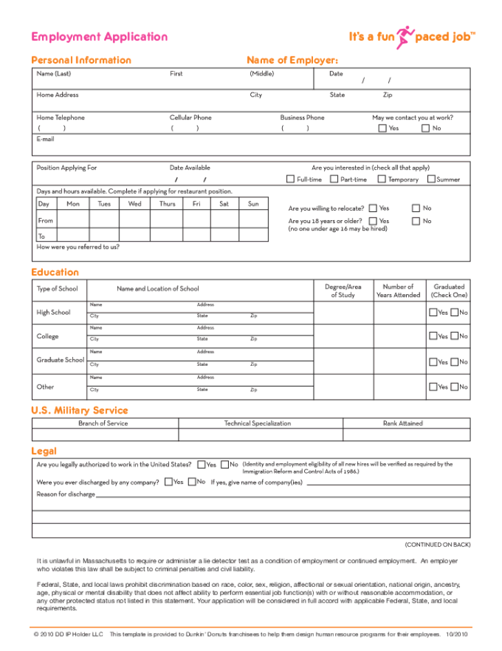 Dunkin Donuts Application Print Out : dunkin, donuts, application, print, Printable, Dunkin', Donuts, Application