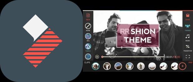 logo y herramientas de la app filmorago