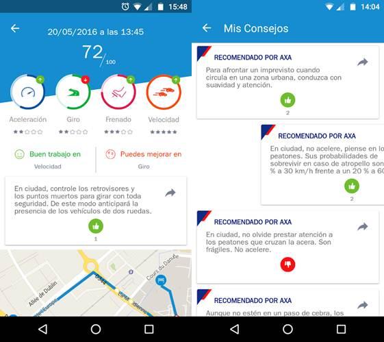 reportes y consejos de la app
